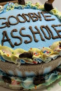 A farewell cake for the person you absolutely despise
